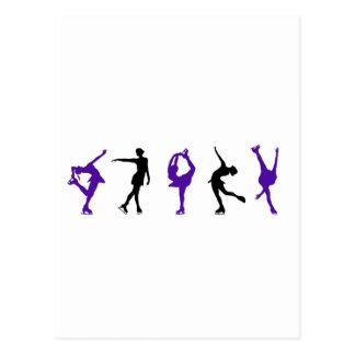 Figure Skaters - Purple & Black Postcard