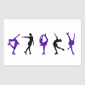 Figure Skaters - Purple & Black Rectangular Sticker