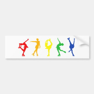 figure skaters rainbow bumper sticker