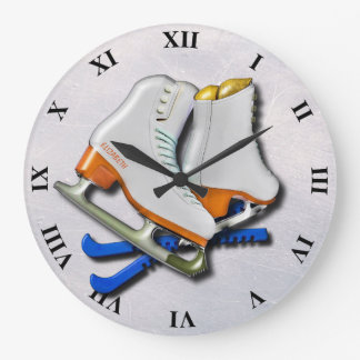 Figure Skates And Skates Guards With Your Name Large Clock
