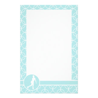 Figure Skating; Baby Blue Circles Stationery Design