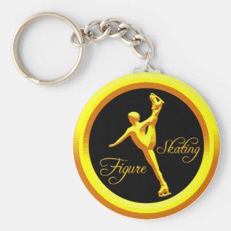 Figure Skating Basic Round Button Keychain