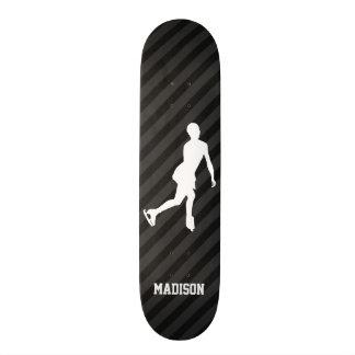 Figure Skating; Black & Dark Gray Stripes Skateboard