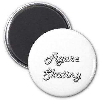 Figure Skating Classic Retro Design 2 Inch Round Magnet