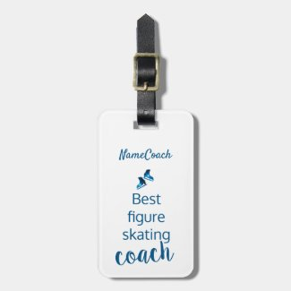Figure skating coach gift - Blue star luggage tag