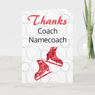 Figure skating coach thank you card - red stars