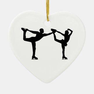 Figure skating couple Double-Sided heart ceramic christmas ornament