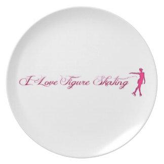 Figure Skating (I Love) Pink/Purple Skater Melamine Plate