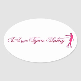 Figure Skating (I Love) Pink/Purple Skater Oval Sticker