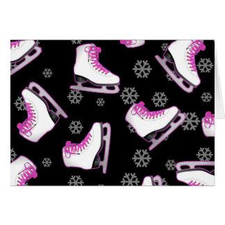 Figure Skating - Ice Skates Black and Pink Greeting Cards