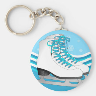 Figure Skating - Ice Skates Blue with Snowflakes Basic Round Button Keychain