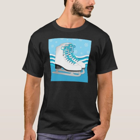 Figure Skating - Ice Skates Blue with Snowflakes T-Shirt