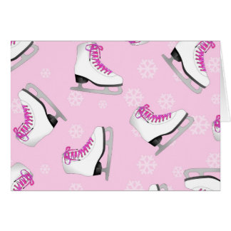 Figure Skating - Ice Skates Pink with Snowflakes Cards