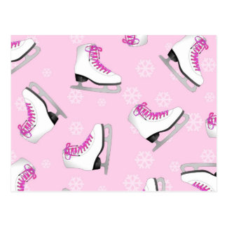 Figure Skating - Ice Skates Pink with Snowflakes Postcard