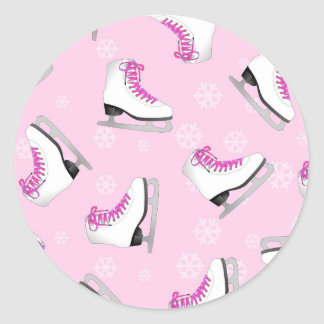 Figure Skating - Ice Skates Pink with Snowflakes Classic Round Sticker