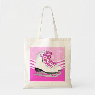 Figure Skating - Ice Skates Pink with Snowflakes Tote Bag