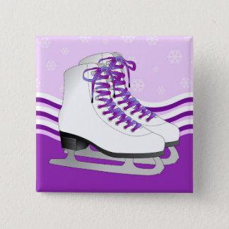 Figure Skating - Ice Skates Purple with Snowflakes Pinback Button