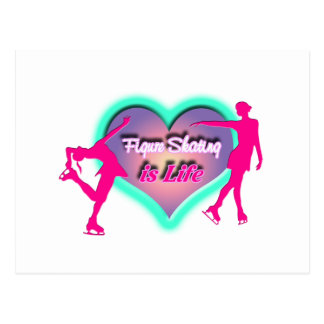Figure Skating is Life - Heart & Two Skaters Postcard