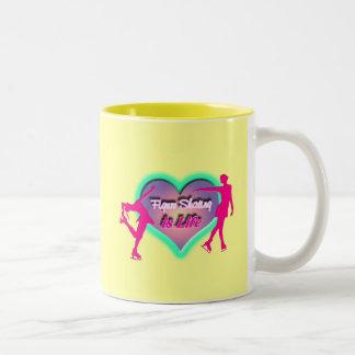Figure Skating is Life - Heart & Two Skaters Two-Tone Coffee Mug