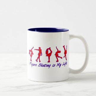 Figure Skating is My Life - Red, White & Blue Two-Tone Coffee Mug