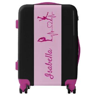 Figure Skating luggage heartbeat pink swirl