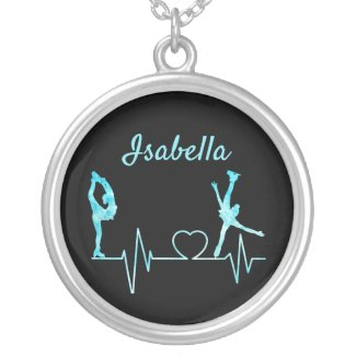 Figure Skating necklace heartbeat frozen blue