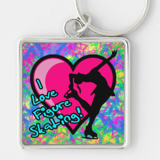 FIGURE SKATING NECKLACE KEYCHAIN