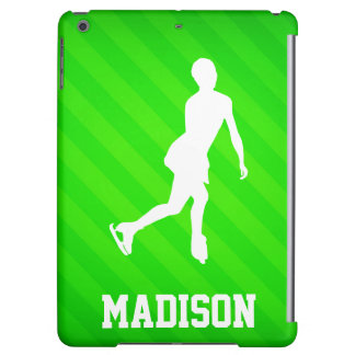 Figure Skating; Neon Green Stripes Case For iPad Air