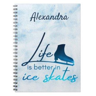 Figure skating notebook life better skate blue
