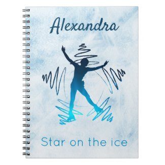 Figure skating notebook star on ice blue