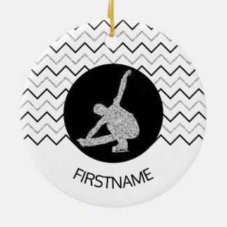 Figure skating ornament - Black silver (male)