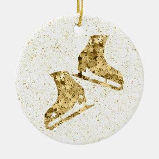 Figure skating ornament - Gold stars (female)
