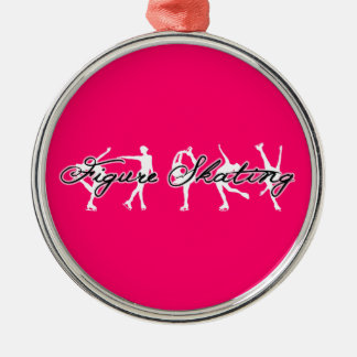 Figure Skating Ornament (Pink, Round, Silver)