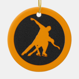 Figure Skating Pair Double-Sided Ceramic Round Christmas Ornament
