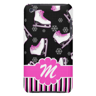 Figure Skating Pink & Black Custom Monogram Barely There iPod Case