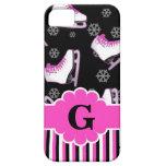 Figure Skating Pink & Black Custom Monogram iPhone 5 Case