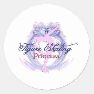 Figure Skating Princess Round Stickers