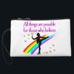 """FIGURE SKATING QUEEN WRISTLET<br><div class=""""desc"""">Be inspired to win Figure Skating Championships with this beautiful rainbow Figure Skater design on Tees, Apparel and Gifts such as jewelry, water bottles, tote bags and more. Inspire your talented Ice Princess with this delightful Ice Skating design with the words of encourages All Things are Possible for Those Who...</div>"""