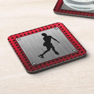 Figure Skating; Red Metal-look Drink Coaster