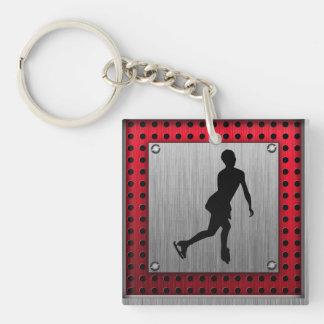 Figure Skating; Red Metal-look Keychain