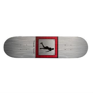 Figure Skating; Red Metal-look Skate Board Deck