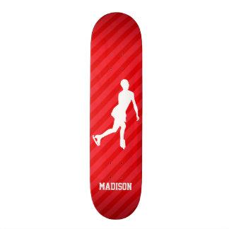 Figure Skating; Scarlet Red Stripes Skateboard Deck