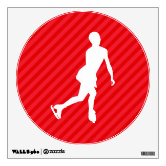Figure Skating; Scarlet Red Stripes Wall Decal