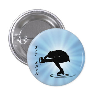 Figure Skating Sit Spin Silhouette Award Button