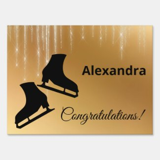 Figure skating success congratulation gold Yard Sign