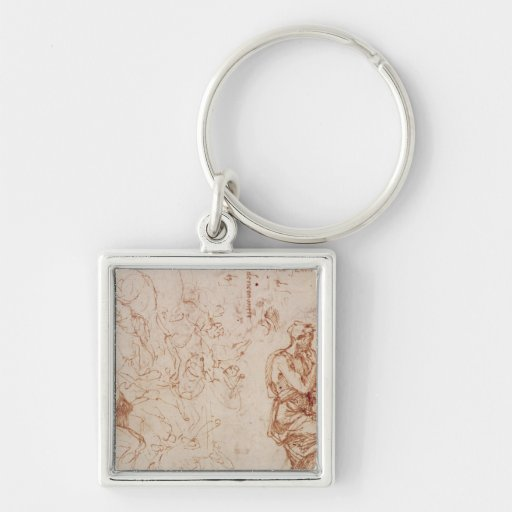 Figure Studies for a Woman Silver-Colored Square Keychain