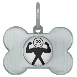 Figure with muscles showing muscle strength pet ID tag