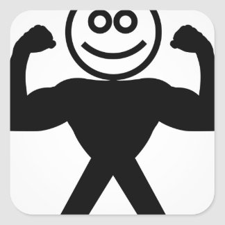 Figure with muscles showing muscle strength square sticker