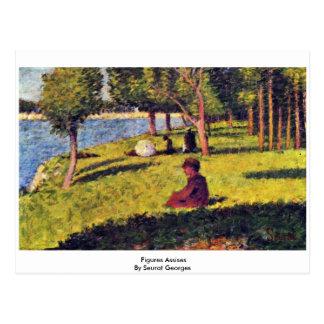 Figures Assises By Seurat Georges Postcard
