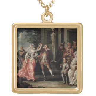 Figures Dancing Outside a Palace (pair with 59640) Gold Plated Necklace
